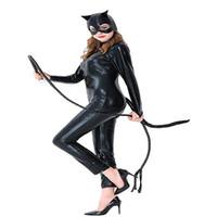 zentai katzenkostüm großhandel-Schwarze Katze Mädchen Halloween Catsuit Cosplay Peitsche Kostüm Sexy Kunstleder Overall XS-XL Größe