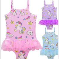 Wholesale Wholesale Girls Swimsuits - Baby Girl Swimwear Unicorn Swimsuit one piece princess bathing suit Bikini Beachwear Bodysuit Girls cartoon Swimwear KKA5081