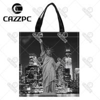 eco stadt großhandel-Manhattan Skyline Freiheitsstatue New York City drucken Nylon Oxford wiederverwendbare Einkaufstasche Geschenk faltbare Tasche Eco Bag Pack von 2