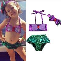 ingrosso ragazza del bikini del bambino-Toddler Girls Bikini Set 3 costumi da bagno costume da bagno sirena con fascia fascia Little Princess Beachwear set