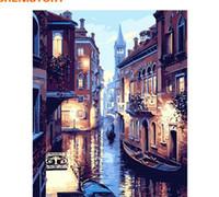 digitale farblandschaft groihandel-Rahmenlose Venedig Nacht Landschaft DIY Digitales Ölgemälde Durch Zahlen Europa Abstrakte Leinwand Malerei Für Wohnzimmer Wandkunst