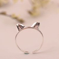Wholesale Open Cats - Original adjustable charm Jewelry fashion sterling silver 925 ring Designer Lovely cat ears woman open rings china direct wholesale