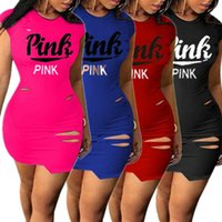 Wholesale designer bandage dresses - Pink Letter Women Sexy Dress Summer Casual ripped-holes A-line skirt Short Sleeve Bandage Ripped Holes Mini Dresses designer Tight Skirts
