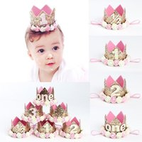 Wholesale first decor - Girl First Birthday Decor 1st Flower Party Crown One 2nd Three Year Old Number Priness Pink Birthday Hat Baby Hair Accessory