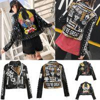 casacos de estilo punk venda por atacado-Jaqueta De Couro PU das mulheres de Moda Jaqueta de Rebite Estilo Americano Bordado Letras Imprimir Leopardo Casaco Mulheres Trench Punk Rock Hip-hop Outwear