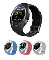 браслет bluetooth часы для iphone оптовых-Y1 Smart Watches Luxury Bluetooth Smartwatch Wrisbrand браслет круглый сенсорный экран с SIM-картой TF слот для IOS Android Samsung iPhone