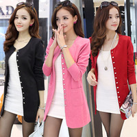 Wholesale winter coat women small - Large size women new winter Korean version of the small suit Slim thin knit cardigan coat jacket and long sections