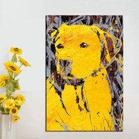panneau d'art mural d'or achat en gros de-1 Panneau Mur Photos Toile Art Impressions Or-Chien Animal Peinture à L'huile pour Salon Décor À La Maison pas D'affiches Encadrés et Imprimés