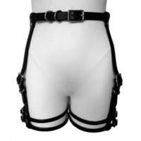 gotik metal halka toptan satış-Moda Kadınlar seksi erotik demeti deri kemer esaret lingerie askı kemer gotik serseri Faux Deri metal O-ring bacak garters