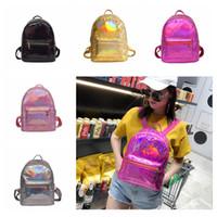 Wholesale mini school bags - 5styles Women Holographic laser backpack Mini Backpack Shoulder Bag Travel School fashion Travel Casual Handbag FFA487 12pcs