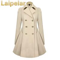 trenchcoat farbe navy beige großhandel-Frauen-Frühlings-eleganter langer Wind-Mantel mit doppelter Knopf-Marine-Blau-Normallack-langen Hülsen-Oberseiten Büro-Dame Winter Trench Outwear