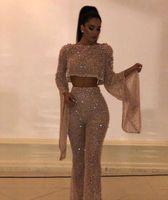 два поддельных платья оптовых-2019 Fake Two Pieces Длинные рукава Блестки платья выпускного вечера Сверкающие топы и брюки Длинные вечерние платья Vestidos de Festa Party BC0240