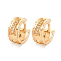 новые тенденции серьги оптовых-New Arrival Shiny Tiny Zirconia Hoop Earrings Real Yellow Gold Filled Trend Huggie Earrings for Women