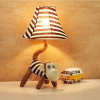 ingrosso lampada bella del fumetto del fumetto-Lampada da tavolo Creative Fabrics Monkey dimmerabile LED E27 per bambini presenta adorabile lampada da scrivania per bambini
