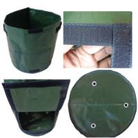 ingrosso giardini di ortaggi-Riutilizzabile Round Plant Pouch Pots Vegetables Grow Bag Con finestra Aeration Container Portable Garden Supplies Pot New 7 8xs Z