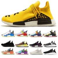 Wholesale human race shoes - 2018 Human race Hu trail x pharrell williams men running shoes Yellow Solar Pack Afro Holi Blank Canvas mens trainers women sports sneaker