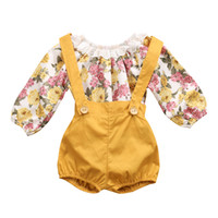 Wholesale Summer Baby Girl Floral Outfits Clothes Newborn Kids Girls Princess Lace Rompers Shorts Sunsuit Clothes Set Long Sleeve Clothing