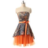 robes de soirée simples pour les filles achat en gros de-A-ligne court Camo Tulle robe de bal de retour de vraies photos fille sans bretelles longueur au genou en dentelle robes de graduation pour la fête de bal