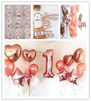Wholesale Balloon Heart Latex Wedding - New Rose Gold Digital Balloon 0-9 Stars latex balloons Balloon Heart Aluminum Foil Balloon Wedding Birthday Theme Party Decoration