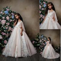 robe papillon joyeux achat en gros de-2018 Blush Rose Robes De Filles De Fleur avec Manches Papillon Jewel Dentelle Applique Tulle Sheer Cou Fille Pageant Party Robe BA9664