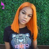 cabelo sintético laranja venda por atacado-14 polegadas cor laranja Curto Bob Perucas Para As Mulheres meia parte brasileira peruca dianteira do laço completo resistente ao calor Perucas de Cabelo Sintético
