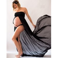 Wholesale long dresses sleeves for beach party - Fashion comfortable women's maternity comfortable maxi dress maxi long dress for pregant photo shoot party dress