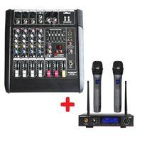 Wholesale audio mixer microphone - FREEBOSS PT5-USB Audio Mixer + KU-22A 2 Way Metal Handheld Wireless Microphone
