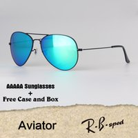 Wholesale clear butterflies - 18 Colors Aviator Sunglasses Men Women Brand Designer Eyewear Glasses Mirror glass lens Sun glasses uv400 Goggle with cases and box