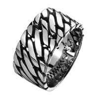 большие ювелирные изделия из нержавеющей стали оптовых-Stainless Steel Rope Punk Ring Big Size rings Vintage Biker Large Antique Men Cool Rings For Seal Rock mens Jewelry