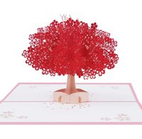 wholesale christmas new year greeting cards handmade online pink romantic cherry blossom d stereo greeting