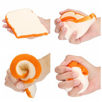 Wholesale Home Bread - 14 cm Jumbo Squishy Sliced Toast Toy Mobile Phone Strap Soft Bread Scented Funning Hand Pillow Gift Home Kitchen Decor YYA1035