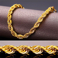 Wholesale Real Hip Hop Gold Chains - 24K Real Solid Gold Filled Necklace For Men Heavy 3 7MM Charming Hip Hop Rope Jewelry Long Choker Wholesale Cuban Link Chain Free Shipping