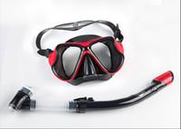 nefes alan yüzme toptan satış-5-color yüksek kalite yetişkin şnorkel takım tüm kuru solunum tüpü ayna anti-sis gözlük yüzme solunum tüpü dalış ekipmanları