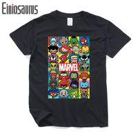 pantalones cortos kawaii al por mayor-Nueva marca Marvel Poster Kawaii Charakter camiseta hombre tops camisetas algodón manga corta camiseta Casual XS-2XL