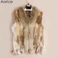 Wholesale knit dog collar online - Pudi VR001 womens natural real rabbit fur vest with raccoon fur collar waistcoat jackets rex rabbit knitted winter