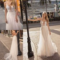Wholesale muse black - Sexy Plunging V Neck Beach A Line Wedding Dresses Muse by Berta 2018 Backless Lace Appliqued Bridal Gowns Country Boho Wedding Dress