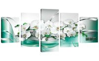 Wholesale orchid flower oil painting - 5 Pieces Canvas Painting White Orchid Flowers Wall Art Painting Green Ribbon Background Wall Art For Home Decor with Wooden Framed Gifts