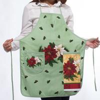 küchentuch druckt großhandel-Neues Design 100% Baumwolle Damen Küchenschürzen Kreative Cartoon Gedruckt Kochschürze Mit Taschen Handtuch Haushaltsreiniger Werkzeuge