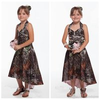 Wholesale outside ball for sale - Group buy 2018 New Cheap Halter Camo Flower Girls Dresses High Low Satin Outside Countryside Formal Kids Wedding Party Wear Hi Lo Summer