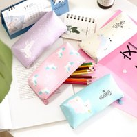 Wholesale cute animal pencil cases - Cute 4 Style Unicorn Canvas Pencil Bag Cartoon Pencil Cases Stationery Storage Organizer Bag School Office Supply Kids Gift