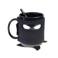 uk-keramik großhandel-Die britischen Originalität Ninja Tassen mit Untersetzer Rühren Löffel Hitzebeständige Keramik Kaffeetasse Durable abnehmbare schwarz 19hc ff