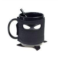 tazas de cafe de ceramica negra al por mayor-El Reino Unido Originalidad Ninja Tazas Con Montaña Revolviendo Cuchara Resistencia al Calor Taza de Café Taza Durable Extraíble Negro 19hc ff