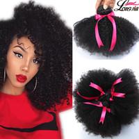 afro örgü 1b toptan satış-Brezilyalı Afro Kıvırcık İnsan Saç Işlenmemiş Brazilain Afro Kinky Kıvırcık 4 Paketler Ucuz 8A Malezya Perulu Bakire İnsan Saç Dokuma 1B