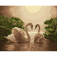 Wholesale Oil Paintings Swans Canvas - Frameless Digital Oil Painting By Numbers Swan Picture Painting On Canvas DIY Home Decoration Wall Decor Home Decor