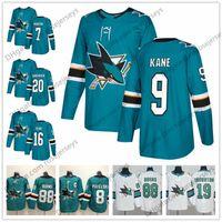 Wholesale Evander Kane - San Jose Sharks #9 Evander Kane 7 Paul Martin 16 Eric Fehr 20 Marcus Sorensen 2018 New Teal Green White Hockey Jerseys S-60