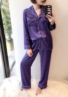 lila silk pyjamas großhandel-Runway Fashion Damen Silk Purple Pyjamas Bademantel Zwei Stücke Hosen Sets Satin Homewear Langarm Nachtwäsche Loungewear