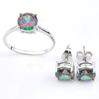 Wholesale gem set rings - Mix Style 2pcs Set Wholesale Holiday Jewelry Gift Classic Mystic Topaz Gems 925 Sterling Silver Ring Stud Earrings