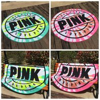 Wholesale quick drying microfiber towels - 160cm Pink Round Beach Towel Microfiber Absorbent Quick Drying Towels Swimming Bath Sports Towels Picnic Blanket Outdoor Mat CCA9655 20pcs