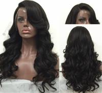 peruca cheia de cabelo brasileiro venda por atacado-Barato glueless full lace perucas para as mulheres negras Brazillian swiss lace frente perucas de cabelo humano com o cabelo do bebê virgem perucas de cabelo humano