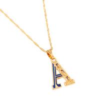 encantos jewlery venda por atacado-Inicial de ouro Capital uma carta pingente colar de esmalte inicial Jewlery